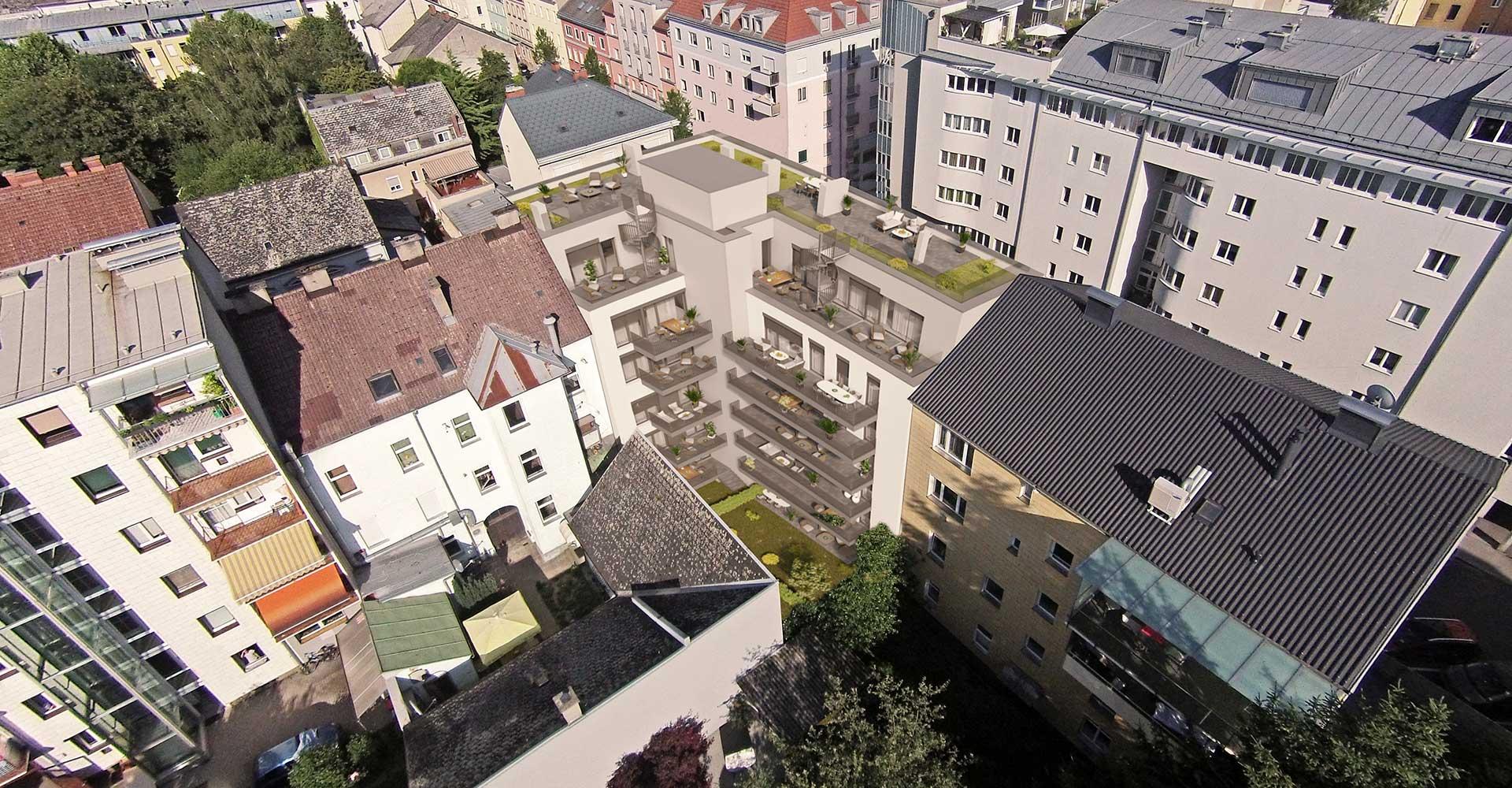 Objekt Schillerstrasse Linz Innenhof